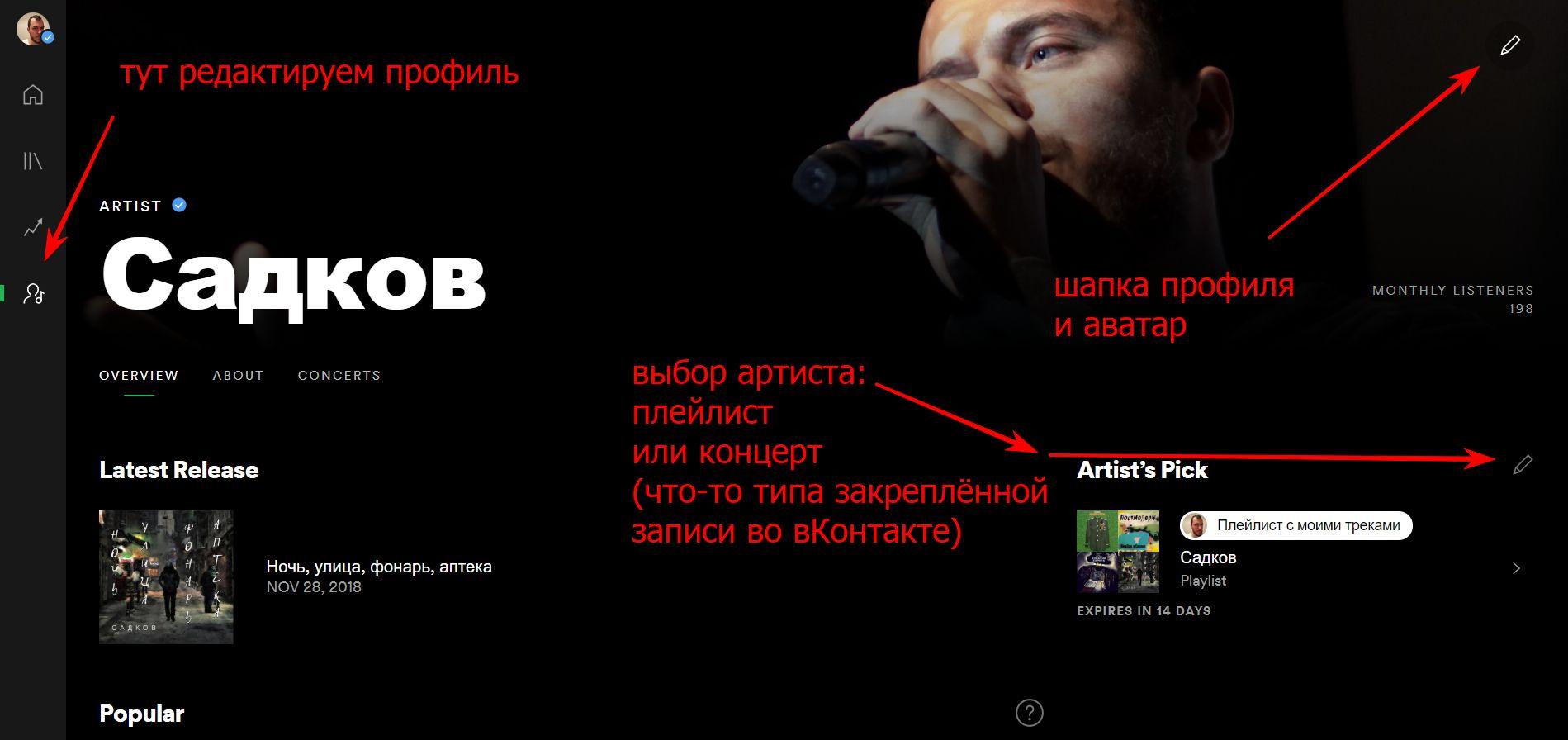 Редактируем профиль артиста